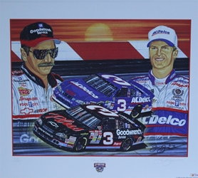 "Dale Earnhardt & Dale Earnhardt Jr ""Rising Son"" 22"" X 26"" Original Artist Proof 1998 Sam Bass Print Sam Bass, Earnhardt Sr. Monster Energy Cup Series, Winston Cup,Poster, The Count of Monte Carlo, Champion, Ralph, Dale Earnhardt & Dale Earnhardt Jr ""Rising Son"" 22"" X 26"" Original Artist Proof 1998 Sam Bass Print"
