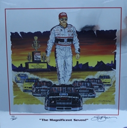 "Dale Earnhardt  "" The Magnificent Seven "" Original Numbered Chrome Sam Bass Print 25"" X 25"" Dale Earnhardt  "" The Magnificent Seven "" Original Numbered Chrome Sam Bass Print 25"" X 25"""