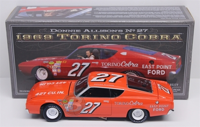 Donnie Allison #27 East Point Ford 1969 Torino Cobra 1:24 University of Racing Nascar Diecast Donnie Allison nascar diecast, diecast collectibles, nascar collectibles, nascar apparel, diecast cars, die-cast, racing collectibles, nascar die cast, lionel nascar, lionel diecast, action diecast, university of racing diecast, nhra diecast, nhra die cast, racing collectibles, historical diecast, nascar hat, nascar jacket, nascar shirt,historical racing die cast