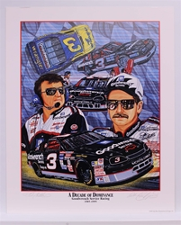 "Double Autographed Dale Earnhardt & Richard Childress ""Decade of Dominance"" Original 1995 Sam Bass 23"" X 28"" Print Sam Bass, Intimidator, Earnhardt Sr., 1987, Monster Energy Cup Series, Winston Cup,Poster, The Count of Monte Carlo, Chanpion, Ralph"