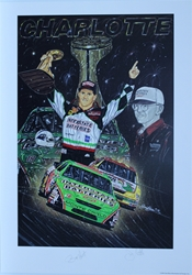 "Dual Autographed Bobby Labonte & Joe Gibbs ""Touchdown"" Original Sam Bass 31"" X 36"" Print w/ COA Sam Bass, Bobby Labonte, Joe Gibbs, Havoline, Monster Energy Cup Series, Winston Cup, Poster"