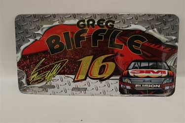 Greg Biffle #16 3M Diamond Plate #16 License Plate Greg Biffle ,Diamond Plate #16 ,License Plate,R and R Imports,R&R