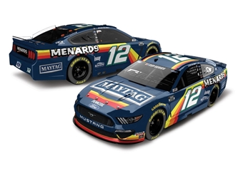 *Preorder* Ryan Blaney Autographed 2020 Menards/Maytag Darlington Throwback 1:24 Color Chrome Nascar Diecast Ryan Blaney Nascar Diecast,2020 Nascar Diecast,1:24 Scale Diecast, pre order diecast, Menards/Maytag Darlington Throwback