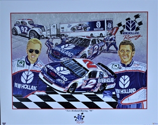 "Ricky Craven And Ron Barfield New Holland Racing 1998 Sam Bass Print  27""X 20"" Ricky Craven And Ron Barfield New Holland Racing 1998 Sam Bass Print  27""X 20"""