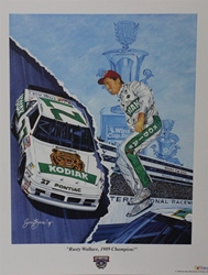 "Rusty Wallace "" 1989 Champion "" Sam Bass Print 22"" X 27"" Rusty Wallace "" 1989 Champion "" Sam Bass Print 22"" X 27"""