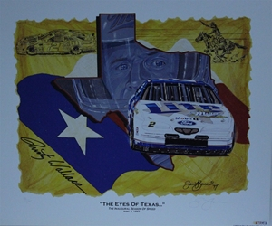 "Rusty Wallace  1997 "" The Eyes Of Texas "" Original Sam Bass Print 26.5"" X 22.5"" Rusty Wallace  1997 "" The Eyes Of Texas "" Original Sam Bass Print 26.5"" X 22.5"""