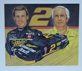 "Rusty Wallace And Roger Penske "" A Winning Combination ""  Numbered Sam Bass Print 20"" X 24.5"" Rusty Wallace And Roger Penske "" A Winning Combination ""  Numbered Sam Bass Print 20"" X 24.5"""