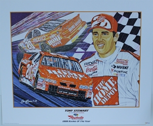 "Tony Stewart "" Rookie Of The Year "" Original Numbered Sam Bass Print 21.5"" X 26"" Tony Stewart "" Rookie Of The Year "" Original Numbered Sam Bass Print 21.5"" X 26"""